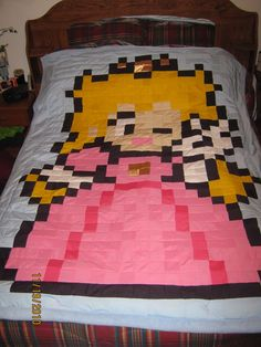 Princess Peach Quilt :full: by ~marquise-crafts on deviantART Princess Toadstool, Nintendo, Zelda, Just Peachy, Kid Beds, Game Room, Princess Peach, Fun Crafts, Quilt Patterns
