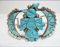 Thunderbird Zuni Native American turquoise cuff