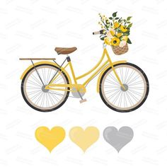 Premium Wedding Clipart & Vectors - Yellow Bicycle Clipart, Wedding Bicycle, Bicycle and Flowers, Vintage Bicycle Clip Art Bycicle Illustration, Bycicle Art Bicycle Decor, Bicycle Art, Bicycle Design, Bicycle Painting, Bicycle Clips, Bicycle Pictures, Bicycle Wedding, Cycling Art, Cycling Quotes