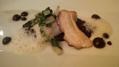 Black halibut with pulpo on venere risotto with mangold and mulled wine jelly @ Restaurant Fehrenbach – das kleine Restaurant