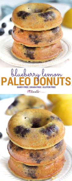 Deliciously Easy Blueberry Lemon Paleo Donuts – The Fit Foodie Mama Easy homemade Blueberry Lemon Paleo Donuts. These delicious and healthy donuts are simple to make, gluten free and dairy free. Paleo Donut, Healthy Donuts, Delicious Donuts, Patisserie Sans Gluten, Dessert Sans Gluten, Gourmet Recipes, Mexican Food Recipes, Whole Food Recipes, Paleo Recipes Easy