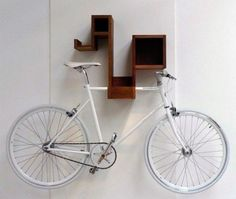 space-saving bike storage ideas for small apartments. Indoor bike storage solutions are for people who can't part with their bicycle. Bicycle Wall Hanger, Wall Mount Bike Rack, Bike Hooks, Bike Shelf, Bicycle Rack, Indoor Bike Rack, Indoor Bike Storage, Bike Storage Rack, Wall Storage