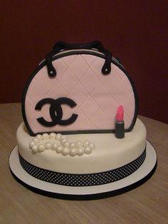 Pink & Black Chanel purse cake - my first purse cake!