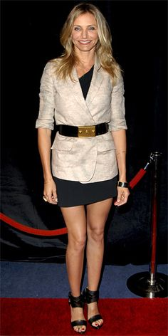 Cameron Diaz in asymmetrical Roland Mouret LBD, linen Elizabeth and James blazer, and leather Lanvin heels