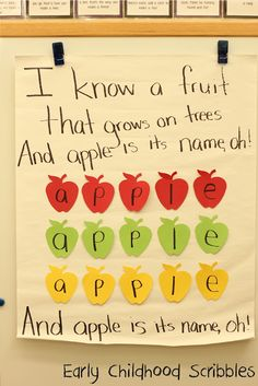Early Childhood Scribbles - apple song apple preschool songs, appl unit, apple unit, apple songs preschool