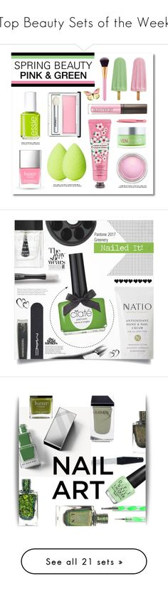 """Top Beauty Sets of the Week"" by polyvore ❤ liked on Polyvore featuring beauty, Essie, Clinique, Laura Mercier, Butter London, beautyblender, The Face Shop, MAC Cosmetics, Tweezerman and VenEffect"