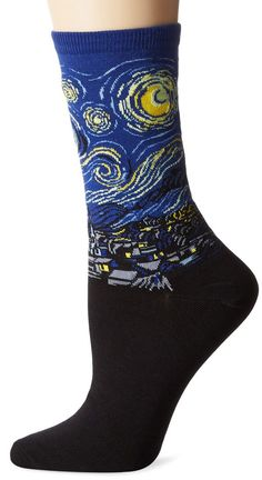 van Gogh's Starry Night Socks are a cultured addition to your sock collection. The famous painting is depicted on socks in blue, black, yellow, grey. #sockpainter #starrynight