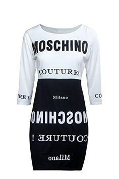 nice Camiseta vestido de señora, vestido de verano casual, talla 38-40, color blanco y negro