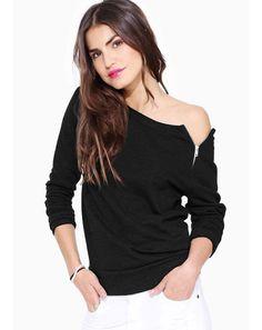 Unique Design Women Long Sleeve Zipper Decorated Solid Color T-Shirt