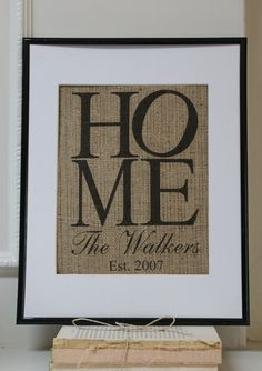 Housewarming Personalized Burlap Artwork - Engagements, Weddings, Anniversaries. Artwork only.. $20.00, via Etsy.