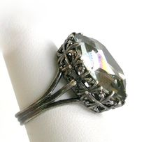 Black Diamond Gothic Ring - Swarovski Jewel  More Colors - Victorian Gothic Jewelry