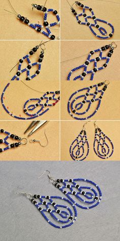Seed beads & bugle beads are tiny beads that can be used in many jewelry making projects. They are rich in colors, bring you to create rainbow color jewelry and craft works. Beaded Earrings Patterns, Seed Bead Patterns, Diy Earrings, Beading Patterns, Beaded Bracelets, Hoop Earrings, Bracelet Patterns, Stretch Bracelets, Blue Earrings