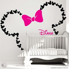 Mickey Mouse ears with Bow & PERSONALIZED BABY NAME / Minnie Mouse wall decals by GraphicsMesh (Large) Orejas de Mickey Mouse con arco & personalizada por decalsmurals Minnie Mouse Wall Decals, Mickey Mouse Ears, Minnie Mouse Nursery, Minnie Mouse Room Decor, Minnie Mouse Baby Stuff, Minnie Mouse Baby Shower, Pink Minnie, Girl Nursery, Girl Room