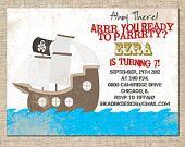Printable Boy Pirate Themed Birthday Invitation, Personalized Digital Design, DIY