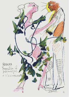 """I bozzetti di Riccardo Dalisi dedicati al mito di Rusalka - L'incontro con il Principe - """"Rusalka"""" per la prima volta al San Carlo dal 19 al 29 gennaio 2013"""