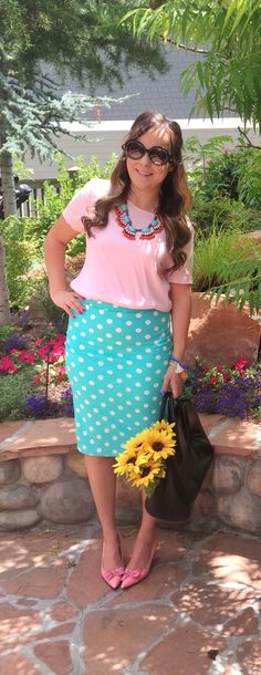 Baby pink and mint polka dot skirt || modest-style.com
