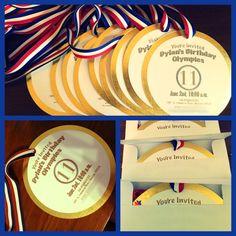 INVITATION Gymnastics birthday party,  gold medal #patriotic #redwhiteblue #usa