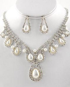 silver plated cream faux pearl   rhinestone bridal necklace   earrings set jewelry sets