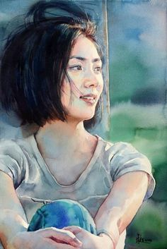 Watercolor Portrait Painting, Watercolor Face, Watercolor Artists, Watercolor Techniques, Watercolor Landscape, Painting & Drawing, Painting People, Figure Painting, Digital Portrait
