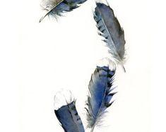 Blue Jay cuatro plumas Archival Print por jodyvanB en Etsy