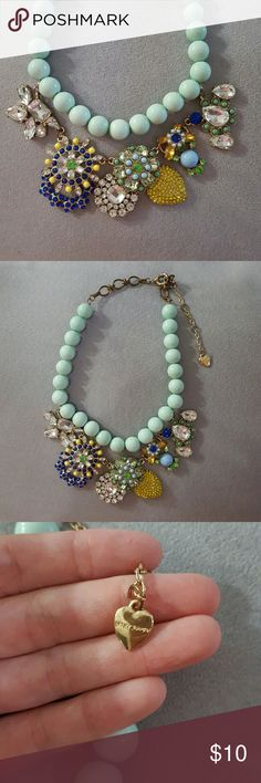 Betsey Johnson statement necklace Beautiful statement piece woth with mint colored beads and several crystal medallions. Adjustable links. Make offer! Betsey Johnson Jewelry Necklaces