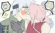 of July is International Kissing Day! What a good day to show people how good of a couple we are! - (And for once, Tsunade won a bet! Naruto Kakashi, Kakashi E Sakura, Naruto Anime, Naruto Comic, Naruto Cute, Naruto Funny, Haikyuu Anime, Anime Manga, Hinata