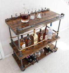 Rustic Bar Cart Pipe Wood Unique Whiskey Wine Bottle Opener Rollaway Furniture By Therusticforest On Etsy