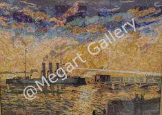 Artist: Nikolakis Theodoriou Title: Cruiser Aurora 60x80 Collage with stamps  Price: 32000€