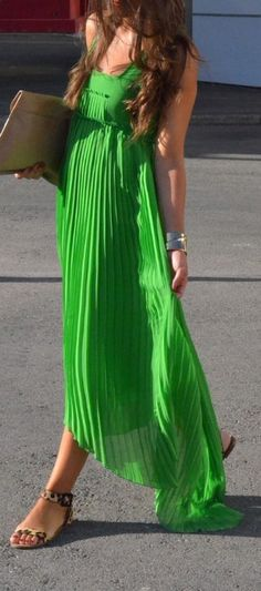 Pleated green maxi