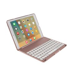 "Luxury Bluetooth Keyboard Case For iPad Air 2, Wireless Keyboard For iPad Pro 9.7"" LED Backlight(Backlit) keybord with Aluminum"