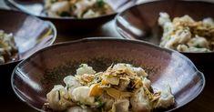 Cuisine-à-Vous - Gin ceviche van schelvis met een crumble van parmezaan en amandelen Ceviche, Fish And Seafood, Starters, Beef, Meat, Steak