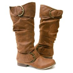 light brown leather bad-ass boots, nearly flat, extra awesome accessory buckles