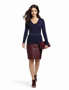 The Limited - Merino Blend V-Neck Sweater: $39.90 Faux Leather Pencil Skirt: $69.90