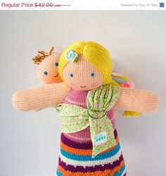 CIJ SALE Slinging Mommy Doll with a baby doll - knitted play dolls - eco-friendly, waldorf, Free Worldwide Shipping. $35.70, via Etsy.