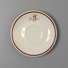 Saucer, 'Trocadero', earthenware, made by Grindley Hotel Ware Co, England