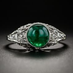 Cabochon Emerald and Diamond Early Art Deco Ring - another great anniversary piece
