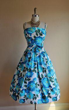 80ebb6dad742c 1950s Dress Vintage 1950s Dress Blue Roses Cotton by jumblelaya Vintage  1950s Dresses, Retro Dress