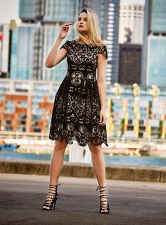 The Antoinette Dress is a velvet, laser-cut lace dress with a cinched waist and full skirt. It has a round neck with a slit front and an elegant capped sleeve f Cap Sleeves, Lace Dress, Elegant, Skirts, Shopping, Spy, Dresses, Fashion, Classy