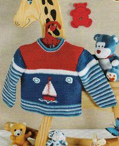 Вязаный крючком свитер для будущего моряка