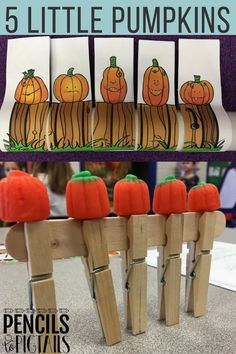 Do you remember the 5 Little Pumpkins Sitting on a Gate song or poem? I'm sharing the crafts, activities, STEM challenges, and more that we use for this beloved song with you today on the blog! #fivelittlepumpkins #halloweencrafts #stem #kindergarten #preschool