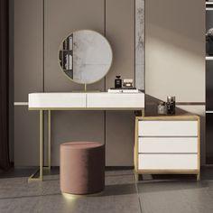Make Up Desk Vanity, Makeup Table Vanity, Vanity Room, Vanity Desk, Makeup Tables, Mirrored Bedroom Furniture, Home Decor Furniture, Home Decor Bedroom, Furniture Design