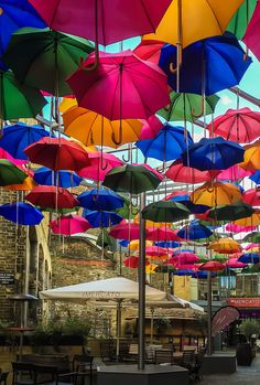 Brew Wharf Cafe of umbrellas, London, England                                                                                                                                                                                 More
