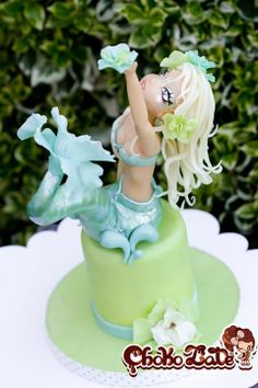 Lady Sirena Cake by ChokoLate Pretty Cakes, Beautiful Cakes, Amazing Cakes, Modeling Chocolate, Chocolate Art, Cake Cookies, Cupcake Cakes, Cupcakes, Biscuit