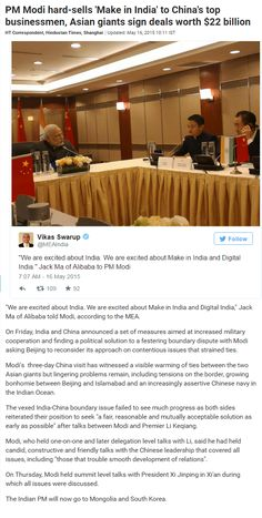 "We are excited about ‪#‎India‬. We are excited about Make in India and Digital India,"" Jack Ma of ‪#‎Alibaba‬ told ‪#‎Modi‬, according to the ‪#‎MEA‬."