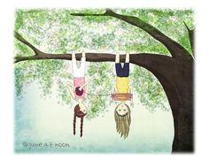 Winding Wool, illustration print, friendship and wool, yarn, knitting, crochet, tree