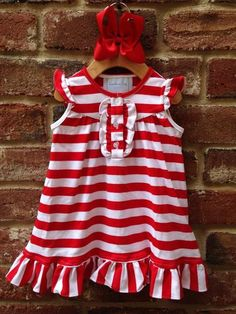 Red/White Knit Striped Rouching Dress by Lambs in Ivy Basics - S/