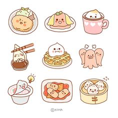 ^ Look at these awesome yummies. Haha, I always laugh when I read that, so I wanted to try it too. Just kidding though. have fun! Art Kawaii, Arte Do Kawaii, Kawaii Doodles, Cute Doodles, Cute Food Drawings, Cute Kawaii Drawings, Easy Drawings, Stickers Kawaii, Cute Stickers