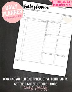 PRINTABLE Daily Planner – A4, A5, Letter & Personal Size Daily Planner Included  Every morning, I start my day with a cup of tea and my daily