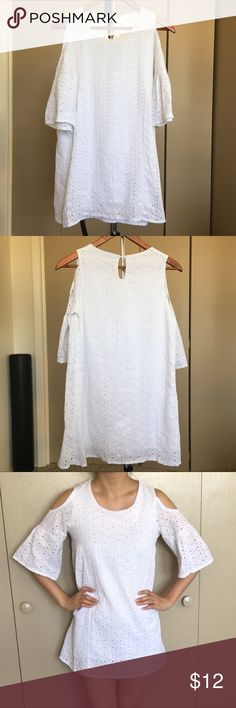 """White eyelet shoulder cut off dress beach cover up NWOT. Bought from Japan. Cute eyelet shoulder cut off  dress. Silky white inner lining. I was wearing black underneath but it barely show. Not funny smell, soft material. 29"""" length. 16"""" chest. Not from A&F. Abercrombie & Fitch Dresses Mini"""