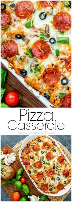 Pizza Casserole   This pizza bake recipe is going to make your next pizza night extra fun. Forget ordering pizza instead make this easy pizza casserole filled with ooey gooey mozzarella cheese and all of your favorite pizza toppings. If you are looking fo